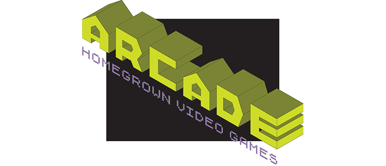 Text: Arcade Homegrown Video Games in a video-gamey style
