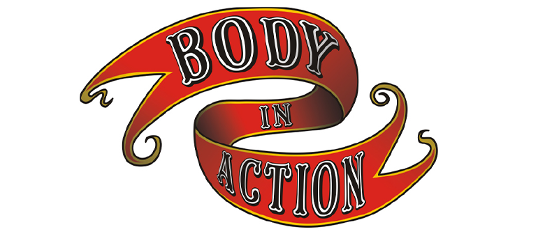 Text: Body in Action on a swirling red banner