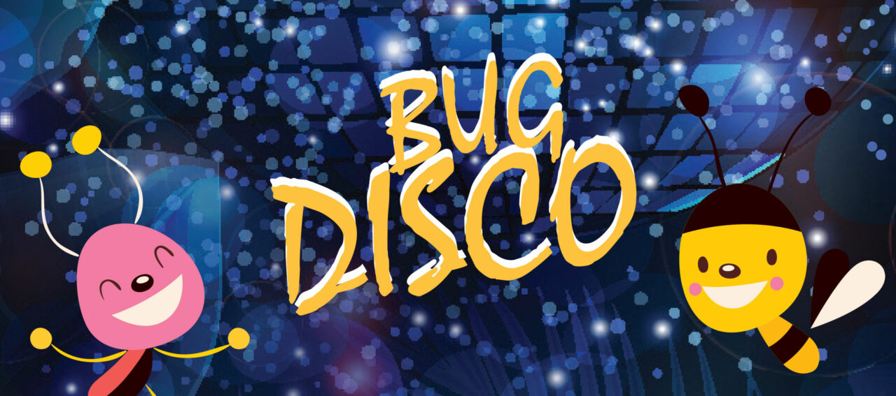 Event title: Bug Disco - two cartoon insects dance against a blue disco background
