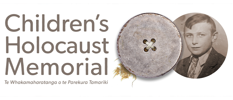 Exhibition title - Children's Holocaust Memorial, with a button and a black and white photo of a child