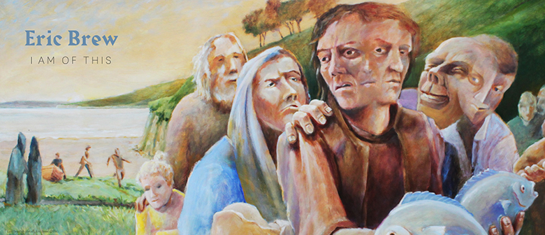 Painting: people try to influence what a man holding fish will do with them
