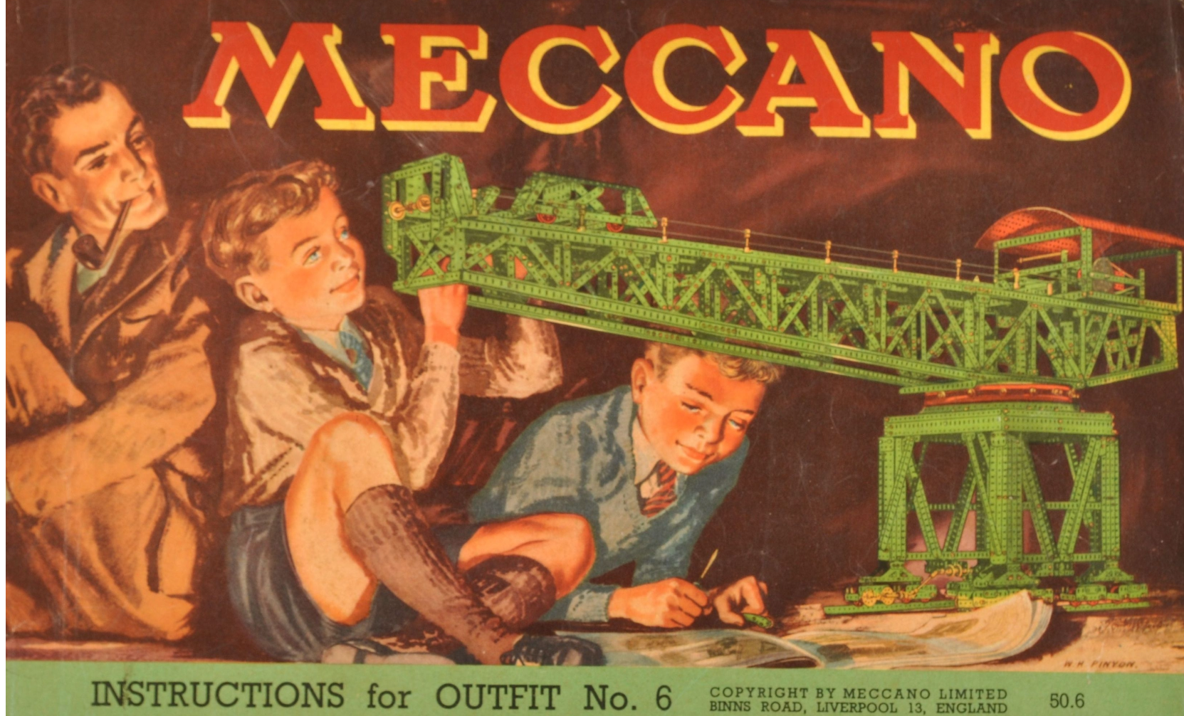 An illustration of two boys building a large Meccano crane, watched by their father