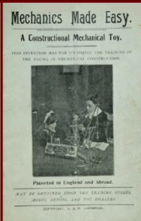 The cover of a Mechanics Made Easy manual. A girl watches a boy build with Meccano