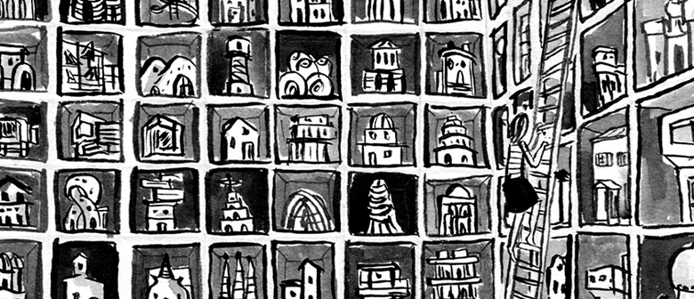 a cartoon of a person climbing a ladder in a vast, possibly infinite library of tiny buildings