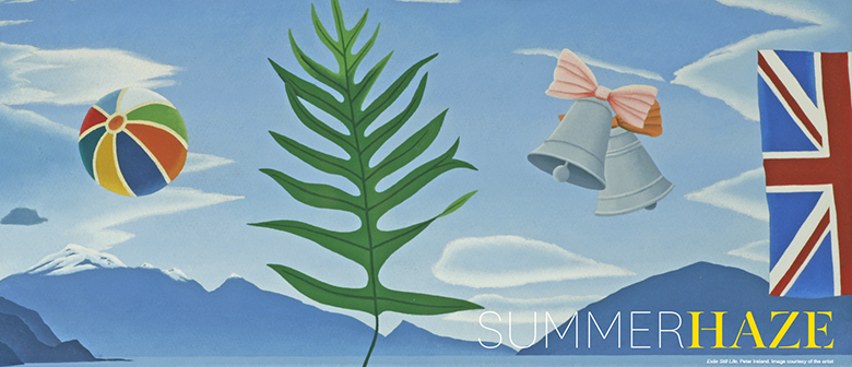 A painting of a fern against a blue sky, with beach ball and union jack