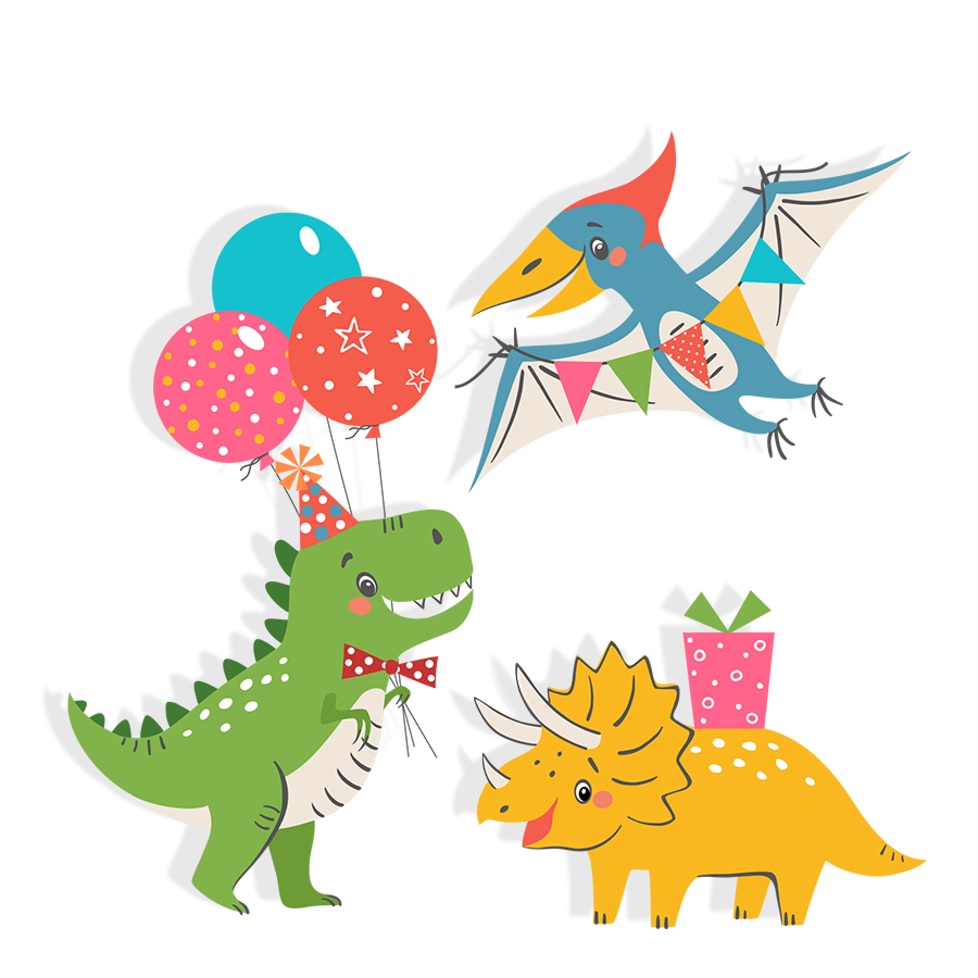 cartoon dinosaurs celebrate child's birthday party