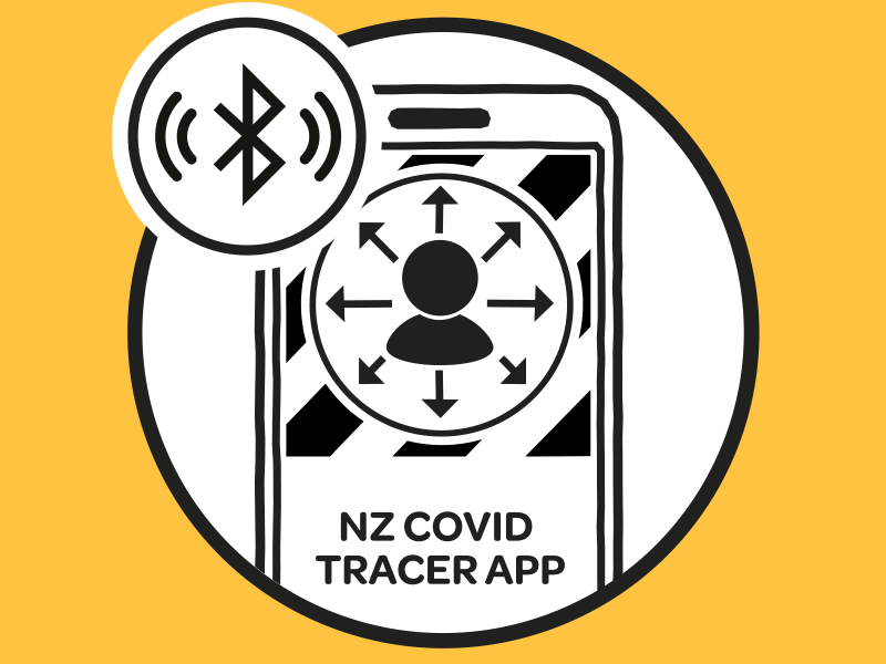 illustration showing the NZ Covid Tracer app
