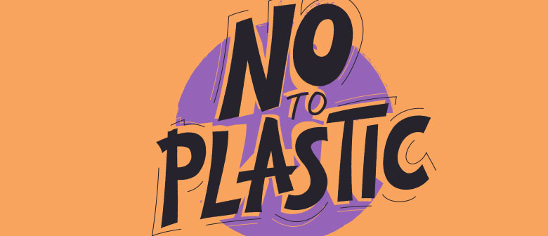 """a badge that reads """"no to plastic"""""""
