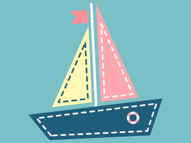 Child's illustration of a toy boat