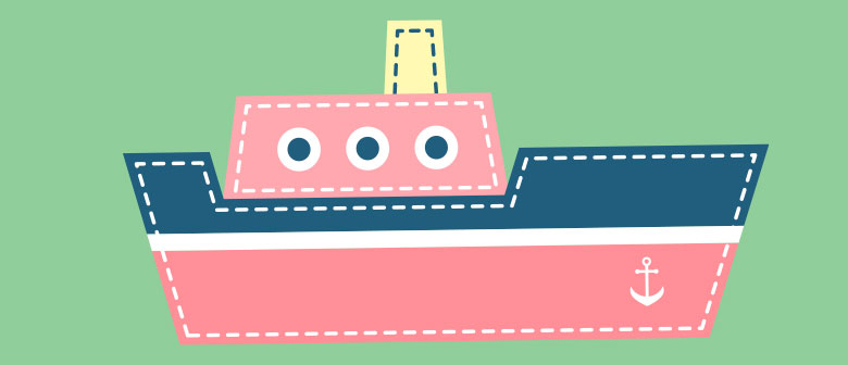child's illustration of a tugboat
