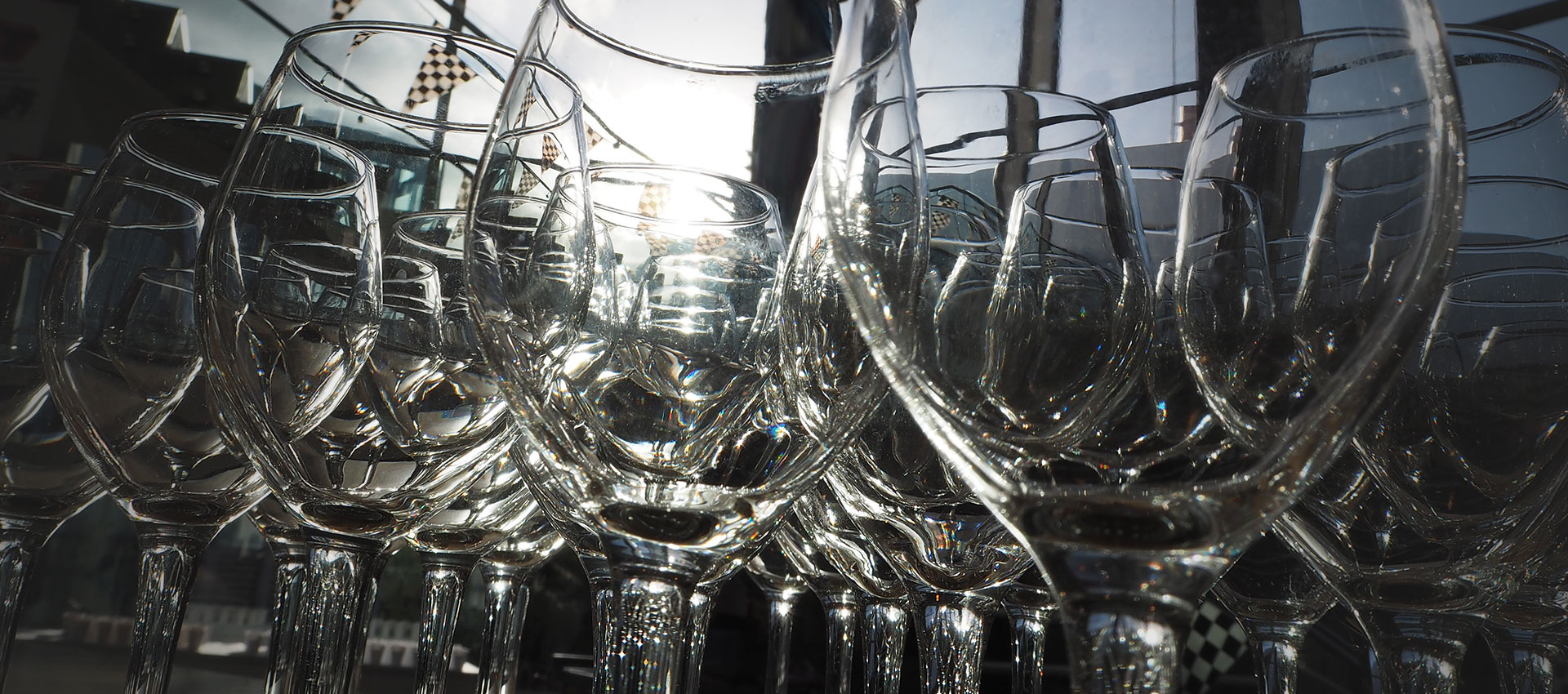 Empty wine glasses ready for a function