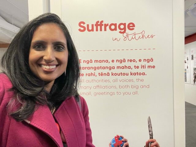 Vanisa Dhiru in the Suffrage and Stitches exhibition