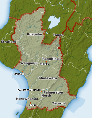 A map of the wider Manawatū region