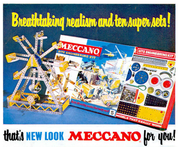 A brightly coloured print advertisement for Meccano from the 1960s