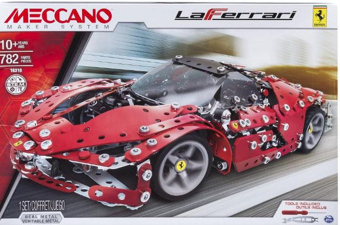 A modern red racing car Meccano set