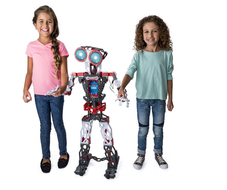 Two young girls with a Meccano robot