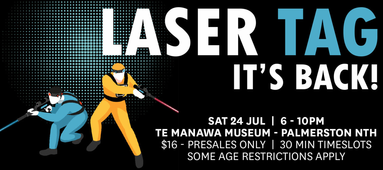 Two figures shoot lasers next to text: Laser Tag, it's back!