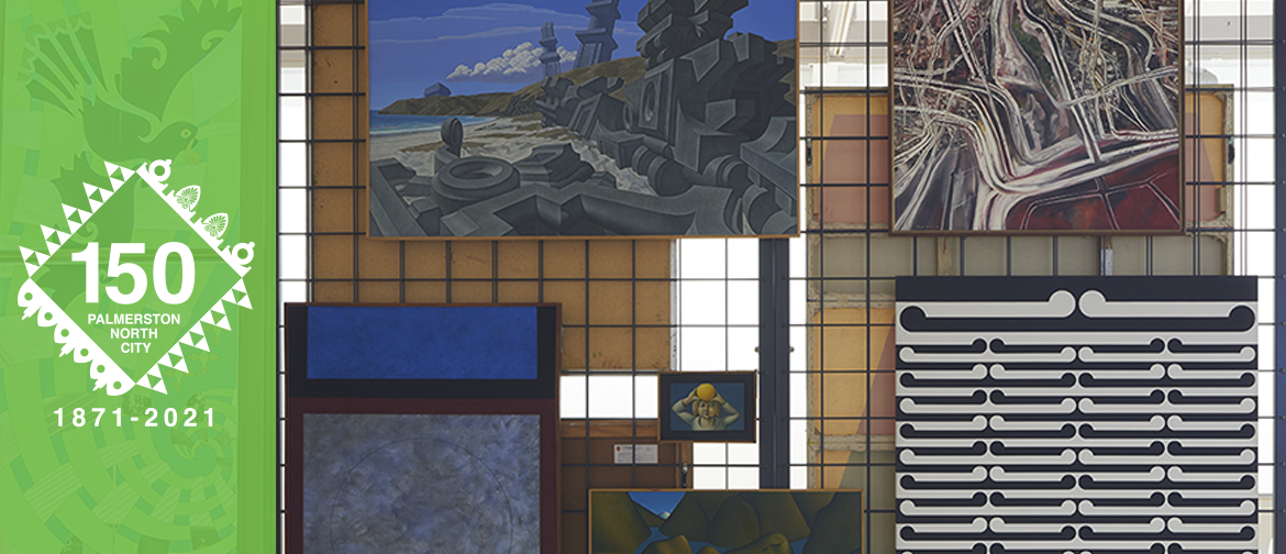 Image of paintings hanging on a rack