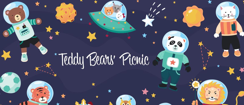 Lots of teddy bears in spacesuits