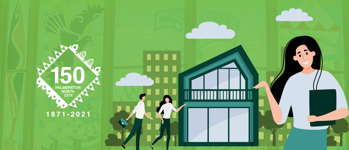 A stylised graphic of people with buildings against a green background. PN150