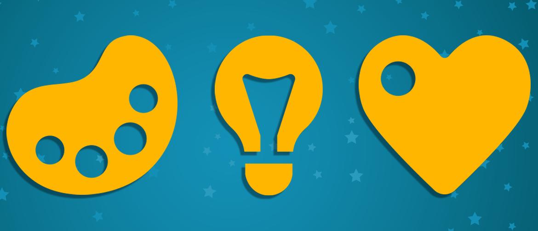 Three yellow icons: a palette, a lightbulb, a heart
