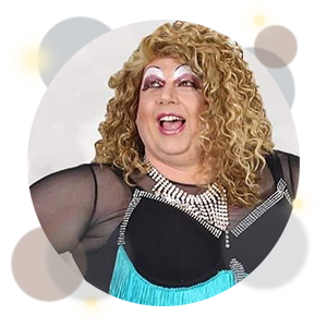 picture of a smiling drag queen