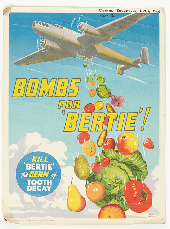 """A plane dropping a load of fruit and vegetables, with the text """"Bombs for Bertie"""""""