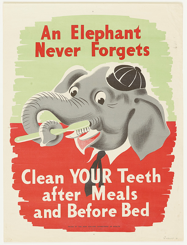 An educational poster of an elephant brushing its teeth